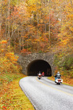 Motorcycles On Vacation Traveling Blue Ridge Parkway in Fall