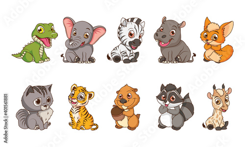 Fototapeta premium cute ten animals babies cartoon characters