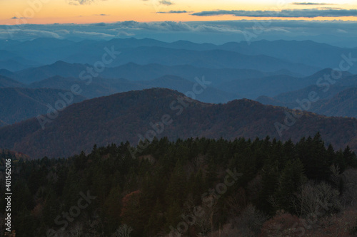 Fototapety, obrazy: Layers of Mountains on Blue Ridge Parkway at Sunset