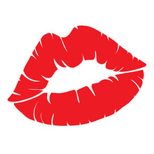 Vector Icons For Printing Women's Lips. Illustration Of A Kiss With Red Lipstick On A White Background