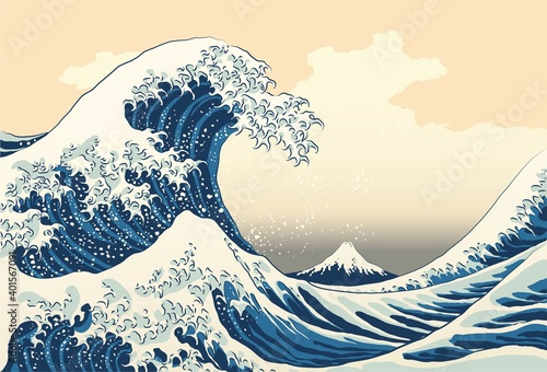 Slika na platnu The great wave off kanagawa painting reproduction vector illustration