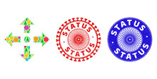 Expand Arrows Collage Of New Year Symbols, Such As Stars, Fir-trees, Color Balls, And STATUS Rough Watermarks. Vector STATUS Watermarks Uses Guilloche Ornament, Designed In Red And Blue Variations.