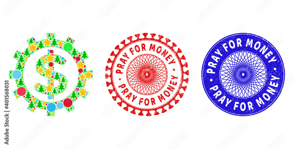 Fototapeta Financial industry collage of New Year symbols, such as stars, fir-trees, colored spheres, and PRAY FOR MONEY textured stamp seals. Vector PRAY FOR MONEY seals uses guilloche ornament,