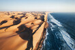 canvas print picture - Place where Namib desert and the Atlantic ocean meets, Skeleton coast, South Africa, Namibia, aerial shot
