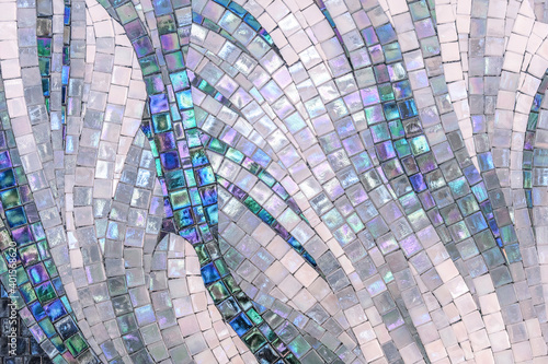 Papel de parede Ceramic mosaic tiles with mother-of-pearl squares laid out randomly