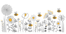 Bees In A Wildflower Meadow, Grey, White And Yellow, Filigree, Vector, Illustration, Hand Drawing