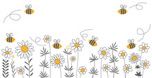 Bees In A Wildflower Meadow, Grey, Yellow And White, Save The Bees,  Filigree, Vector, Illustration, Hand Drawing