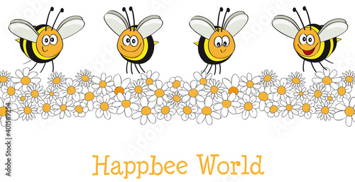 Happbee World with happy bees, Happy Bee colony,  cartoon, vector, illustration Fototapeta