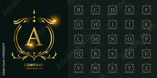 Letter A or collection initial alphabet with luxury ornament floral frame golden logo template. - fototapety na wymiar