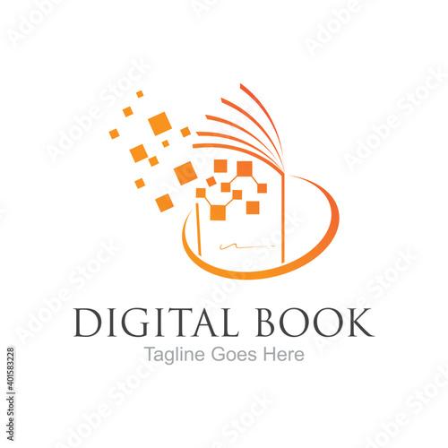Obraz Digital book logo technology vector icon design - fototapety do salonu