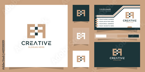 Fototapety, obrazy: Letter ef logo and business card. creative tech logo