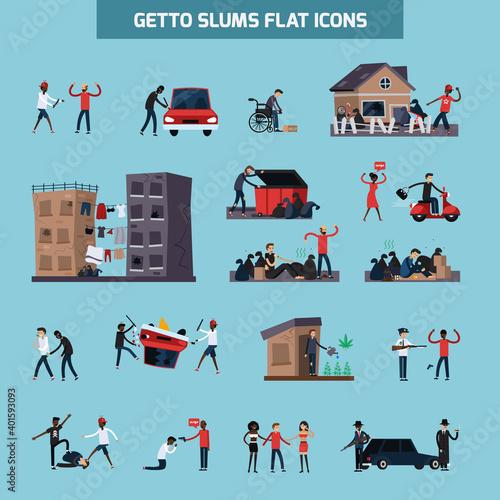 Fotografering Ghetto Slum Flat Icon Set