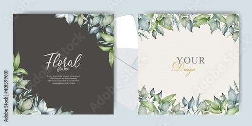 Fototapeta watercolor Wedding Invitation card set template obraz