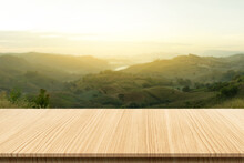 Wooden Table Top With The Mountain Landscape Can Be Used To Display Or Edit Your Products, Simulate To Showcase Them.