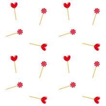 Seamless Pattern With Sweets Hearts And Lollipops. Red Sweets On A White Background. Textile Wrap Wallpaper Design. Vector Illustration
