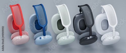 Canvas Print Realisitc 3d Rendering of a new Apple AirPods MAX all headphones, noise cancella