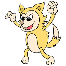 A Scary Yellow Wolf, Doodle Kawaii. Doodle Icon Image