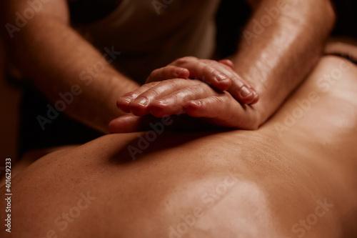 Obraz Girl getting back massage. Spa salon - fototapety do salonu