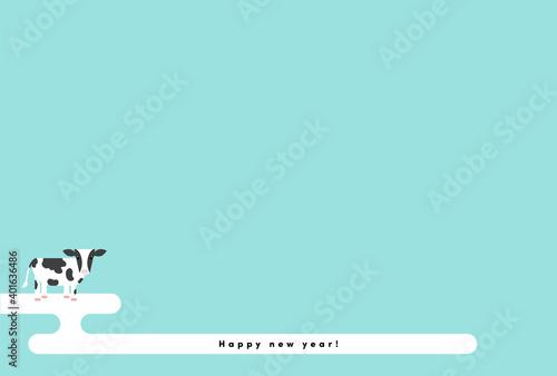 Obraz シンプルでかわいい牛とhappy new yearの文字と日本の伝統的な文様エ霞入り年賀状・ハガキサイズのイラスト 水色背景  - fototapety do salonu