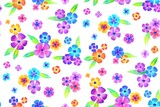 Floral seamless background pattern. Colorful  flowers hand drawn, vector. Spring summer. Fabric swatch, textile design,wrapping paper