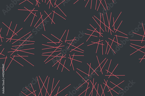 Fototapeta Seamless abstract background pattern made with messy lines in celebration / fireworks abstraction. Simple, modern vector art in pink and grey colors, obraz