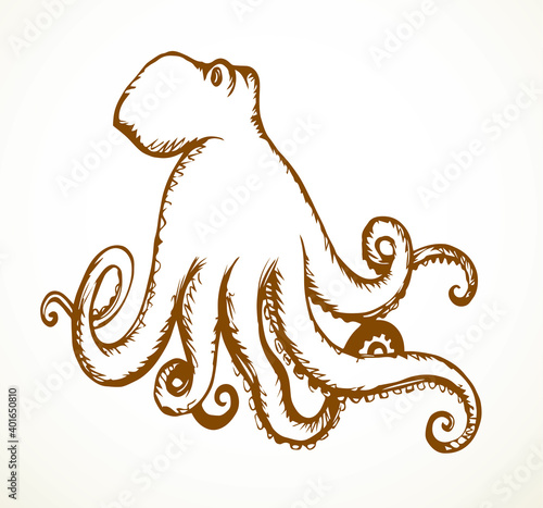Foto Octopus. Vector drawing icon sign