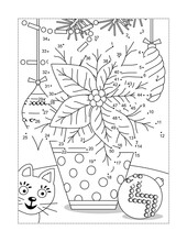 Poinsettia Potted Flower Full Page Connect The Dots Puzzle And Coloring Page Wth Ornaments, Garlands And Cat