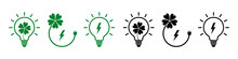 Set Of Icons Light Bulbs With Sockets And Eco Plants. Ecological Energy Icon. Vector Illustration.