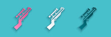 Paper Cut Sniper Rifle With Scope Icon Isolated On Blue Background. Paper Art Style. Vector.