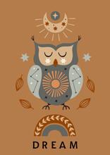 Celestial Poster With Owl, Moon, Rainbow