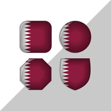 Qatar Flag Icons Theme. Isolated On A White Background. Can Be Used For Websites And Additional Designs. Vector