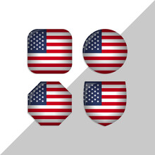 United States Of America Flag Icons Theme. Isolated On A White Background. Can Be Used For Websites And Additional Designs. Vector
