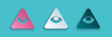Paper Cut Masons Symbol All-seeing Eye Of God Icon Isolated On Blue Background. The Eye Of Providence In The Triangle. Paper Art Style. Vector.