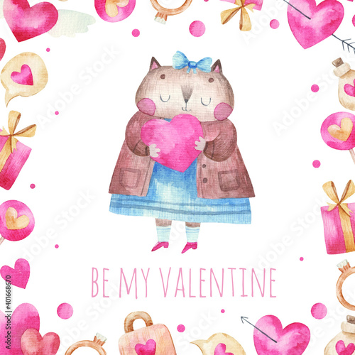 greeting card cute cat in love hugs a heart, children's illustration for Valentine's Day