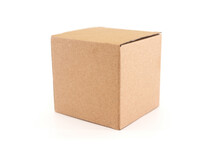 Cardboard Box Isolated On White Background With Clipping Path. Suitable For Food, Cosmetic Or Medical Packaging.