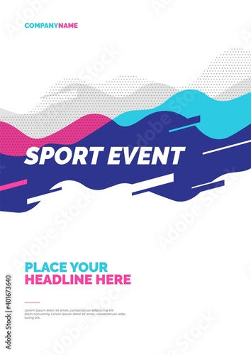 Papel de parede Poster design with abstract dynamic waves for sports event, competition or championship