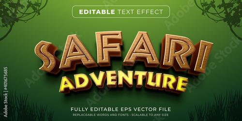 Editable text effect in safari game style - fototapety na wymiar