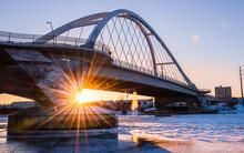Lowry Avenue Bridge At Sunset With Minneapolis Skyline Behind