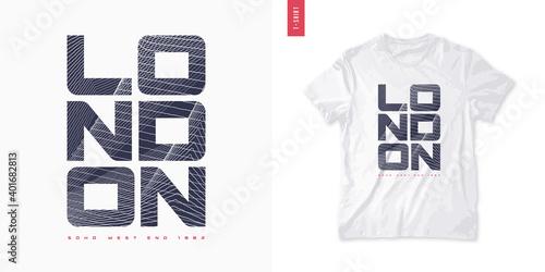 London. Abstract geometric t-shirt vector design, poster, print, template