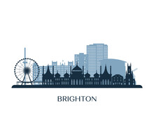 Brighton, UK Skyline, Monochrome Silhouette. Vector Illustration.