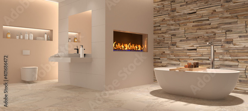 Fotografering Bad, Badezimmer, modern, freistehende Badewanne