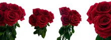 Bouquet Of Five Red Red Roses With Dew Drops Close Up In Daylight With Different Views On A White Background
