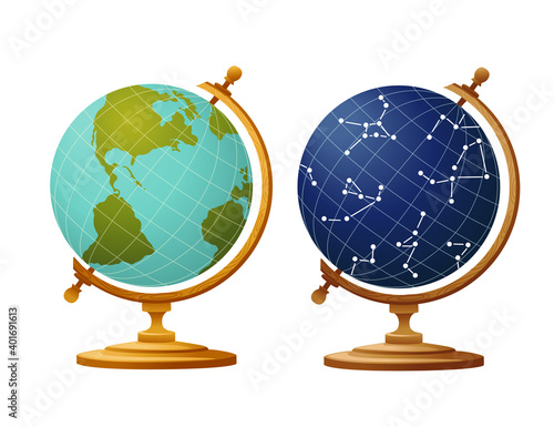 Fotografia, Obraz Set of two globe earth and sky constellation globe for school on wooden stand fl