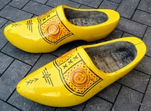 Traditional Yellow Wooden Clogs Of The Netherlands