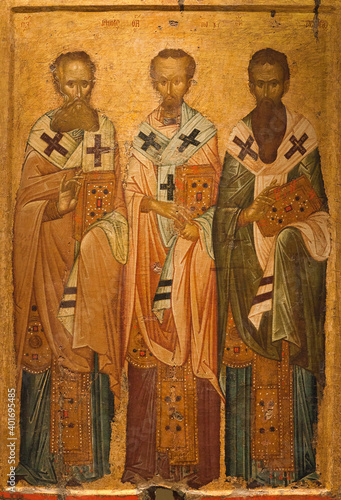 Ancient icon of the Three Hierarchs, church fathers - Basil the Great,  Gregory the Theologian and John Chrysostom Wallpaper Mural