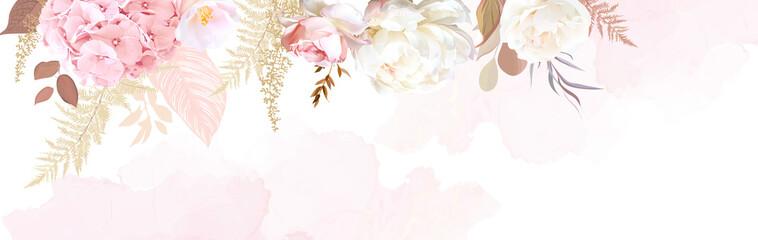 Luxurious beige trendy vector design watercolor banner frame