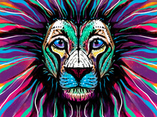 Illustration Of A Colored Lion Portrait, Multicolor, With A Multi-colored Mane, Abstract Head Drawing