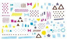 マーカーペンで描いた背景やあしらいに使える柄セット 星、ドット、ストライプなど Vector Color Banners Drawn With Markers Sets. Dot, Stripe, Star, Ribbon, Drop