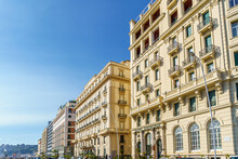 Ancient Baroque Style Palaces On Partenope Street, The Beautiful And Famous Seafront Of Naples, Campania, Italy