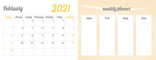 February 2021 Full Monthly Planner: February  Calendar On The Left Side, And A Progress To Do List On The Right Side Of The Page. Printable Vector Illustration Art.